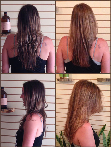 Organic color highlights and lowlights using a brown, red, and blonde @ OrganicSalonProject.com