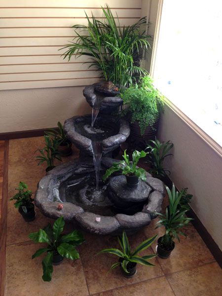 A soothing fountain to create a relaxing energy at The Organic Salon Project